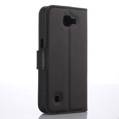 Keep your LG K4 protected in this stylish black leather style wallet case with integrated card holder pockets.