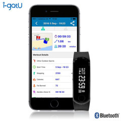 Stay on top of your fitness and go the extra mile with igotU's QBand HR fitness band and heart monitor. Track steps, calories burned and much more with the free companion app, and keep up to date with notifications from social media, email and texts too.