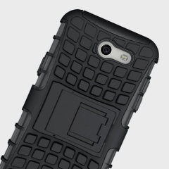 Protect your Samsung Galaxy J3 2017 - US Version from bumps and scrapes with this black ArmourDillo case. Comprised of an inner TPU case and an outer impact-resistant exoskeleton, with a built-in viewing stand.