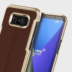 VRS Design Simpli Mod Leather-Style Samsung Galaxy S8 Plus Case -Brown