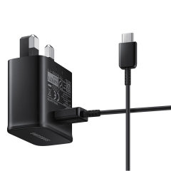 A genuine Samsung UK adaptive fast mains charger for your USB-C compatible Samsung Galaxy phones.  With folding pins for travel convenience and a genuine Samsung USB-C charging cable.