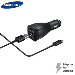 Official Samsung Adaptive Fast Dual Car Charger w/ USB-C Cable - Black