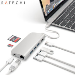 Using the USB-C (USB Type-C) port on your MacBook or laptop, add 3 full-sized USB ports, a USB-C port, an Ethernet socket, SD and Micro SD card readers and a 4K HMDI port to your computer with this versatile, useful adapter in silver from Satechi.
