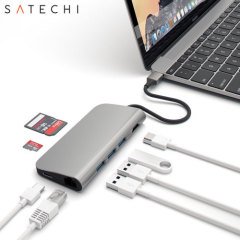 Using the USB-C (USB Type-C) port on your MacBook or laptop, add 3 full-sized USB ports, a USB-C port, an Ethernet socket, SD and Micro SD card readers and a 4K HMDI port to your computer with this versatile, useful adapter in space grey from Satechi.