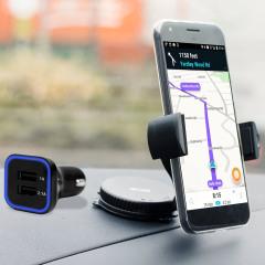 Artículos esenciales que necesitará para su smartphone durante un viaje en coche. Este pack de coche Olixar DriveTime incluye un soporte de coche y un cargador para su Google Pixel XL