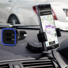 Das Pack enthält wesentliche Elemente, die Sie für Ihr Handy während einer Autofahrt benötigen. Ausgestattet mit einem robusten Autohalterung und einem Autoladegerät mit zusätzlichen USB-Port für Ihr OnePlus 3T / 3