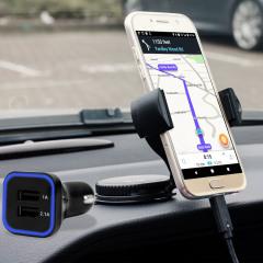 Das Pack enthält wesentliche Elemente, die Sie für Ihr Handy während einer Autofahrt benötigen. Ausgestattet mit einem robusten Autohalterung und einem Autoladegerät mit zusätzlichen USB-Port für Ihr Samsung Galaxy A3 2017
