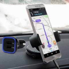 Artículos esenciales que necesitará para su smartphone durante un viaje en coche. Este pack de coche Olixar DriveTime incluye un soporte de coche y un cargador para su Huawei Mate 9