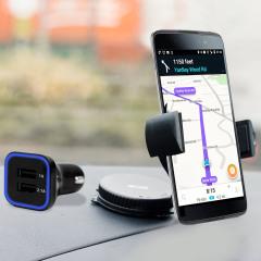 Artículos esenciales que necesitará para su smartphone durante un viaje en coche. Este pack de coche Olixar DriveTime incluye un soporte de coche y un cargador para su BlackBerry DTEK50