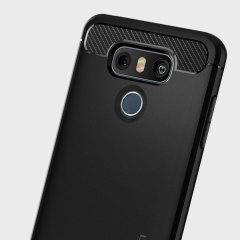 Ontmoet het nieuw ontworpen robuuste armor hoesje voor de LG G6. Gemaakt van flexibele, robuuste TPU en met een mechanisch ontwerp, inclusief een koolstofvezel textuur, zorgt het robuuste harnas in zwart dat uw telefoon veilig en slank is.