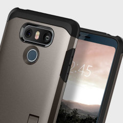 The Spigen Tough Armor in gunmetal is the new leader in lightweight protective cases. The new Air Cushion Technology corners reduce the thickness of the case while providing optimal protection for your LG G6.