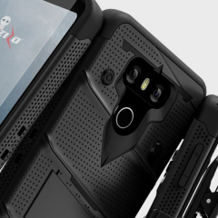 Equip your LG G6 with military grade protection and superb functionality with the ultra-rugged Bolt case in black from Zizo. Coming complete with a tempered glass screen protector and a handy belt clip / kickstand.