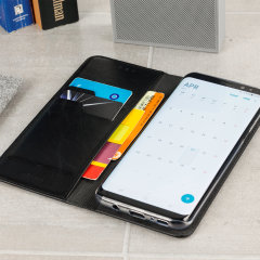 A premium slimline black genuine leather case. The Olixar genuine leather executive wallet case offers perfect protection for your Samsung Galaxy S8 Plus, as well as featuring a smart magnetic media stand slots for your cards, cash and documents.