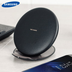 Wirelessly charge your Galaxy S10, S9, S8 and other compatible devices with Wireless Fast Charge technology using this official Samsung Qi Wireless Convertible Charging Pad in couch black.