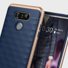 Protect your LG G6 with this stunning premium dual-layered shell case in navy. Made with tough dual-layered yet slim material, this hardshell body with a sleek metallic bumper features an attractive two-tone finish.