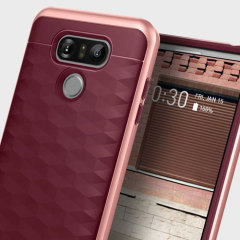 Protect your LG G6 with this stunning premium dual-layered shell case in burgundy. Made with tough dual-layered yet slim material, this hardshell body with a sleek metallic bumper features an attractive two-tone finish.