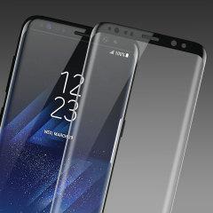 Houdt het scherm van je Samsung Galaxy S8 Plus in onberispelijke staat met deze Olixar screen protector van gehard glas die ontworpen is om zelfs de gebogen schermranden van het unieke display te bedekken en beschermen. De zwarte randen komen precies overeen met het zwart van de telefoon.