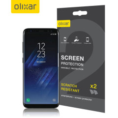 Keep your Samsung Galaxy S8 screen in pristine condition with this Olixar scratch-resistant screen protector 2-in-1 pack.