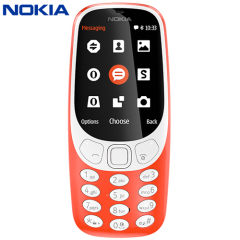 Unlocked Nokia 3310 in warm red. Taking the best of the original 3310 released back in 2000, the Nokia 3310 (2017) adds a colour display, Micro SD card expansion, 2MB camera, FM radio and Bluetooth compatibility. And yes, you can again play Snake!