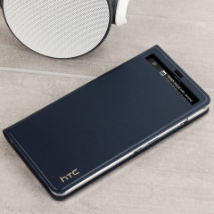 Official HTC U Ultra Genuine Leather Flip Case - Dark Blue