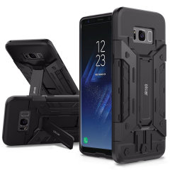 Equip your Samsung Galaxy S8 Plus with rugged protection and superb functionality with the X-Trex case in black from Olixar. Featuring a handy kickstand for viewing media in both portrait and landscape and an ingenious secure credit card compartment.