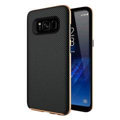 TPU:n tukevat kerrokset ja kovetut polykarbonaatin kerrokset, tarjoavat matalan, mittapintaisen ja liukumattoman hiilikuitu suunnittelun. Olixar X-Duo kotelo pitää Samsung Galaxy S8:si turvassa, tyylikkään ja ohuena. Saatavilla mustana ja kultaisena.