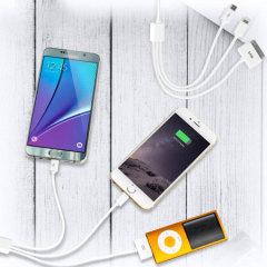 Câble de chargement polyvalent idéal lors d'un voyage ou lors d'un déplacement. D'une longueur de 20cm, ce câble 4-en-1 permet la charge simultanée de plusieurs appareils différents. Ce câble est compatible avec les smartphones / tablettes Apple Lightning, Apple 30-pin, Micro USB et les tablettes Samsung Galaxy Tab.