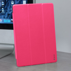 "Treat your new iPad 2017 (9.7"") to richly deserved protection while also enhancing Apple's signature elegant design with this smart case in rose red. Featuring a folding front cover which doubles as a media stand."