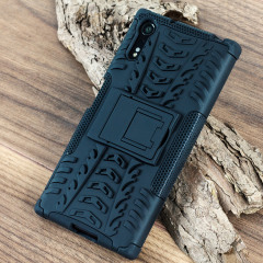 Protect your Sony Xperia XZs from bumps and scrapes with this black ArmourDillo case. Comprised of an inner TPU case and an outer impact-resistant exoskeleton, with a built-in viewing stand.