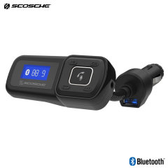 Send music and calls through your car speakers with the Scosche BTFreq Wireless Hands-Free Car Kit. Featuring an FM transmitter to transmit your phone's audio to your car and an integrated USB charging port, as well as a built-in mic for hands-free calls.