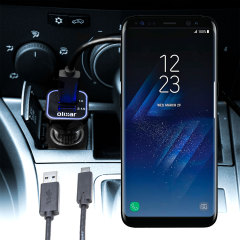 Keep your Samsung Galaxy S8 Plus fully charged on the road with this compatible Olixar high power dual USB 3.1A Car Charger with an included high quality USB to USB-C charging cable.