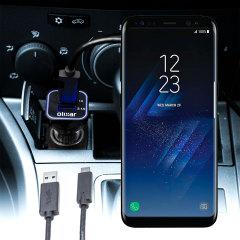 Houd je Samsung Galaxy S8 Plus volledig opgeladen op de weg met deze compatibele Olixar-oplader voor high power-auto's.