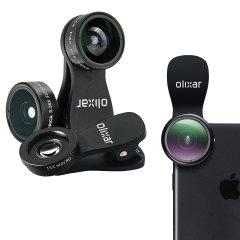 Take your smartphone and tablet photographyto the next level with this professional universal 3-in-1 HD lens kit. Combining 180 degree fisheye, super wide-angle and 15x macro lenses in one easy quick-connect product with 2 universal clips by Olixar.