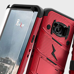 Equip your Samsung Galaxy S8 with military grade protection and superb functionality with the ultra-rugged Bolt case in red from Zizo. Coming complete with a tempered glass screen protector and a handy belt clip / kickstand.