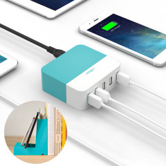 Keep all your devices fully charged in no time and keep your desk area tidy with the I-Star 10.6A 5 Port USB Hub Bookend Charger. Features intelligent charging ports and an attractive bookend styled holder to hold your devices while charging.