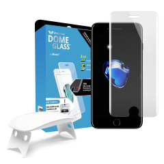 The Dome Glass screen protector for iPhone 8 / 7 from Whitestone uses a proprietary UV adhesive installation to ensure a total and perfect fit for your device. Also featuring 9H hardness for absolute protection, as well as 100% touch sensitivity retention
