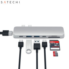Using both USB-C (USB Type-C) ports on your MacBook with USB-C, add 2 full-sized USB ports, a Micro SD / SD card reader, 2x USB-C ports and a fully 4K compliant HDMI port to your MacBook. This hub offers astounding functionality and a sleek look.
