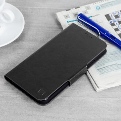 Protect your HTC U11 with this durable and stylish black leather-style wallet case by Olixar. What's more, this case transforms into a handy stand to view media.