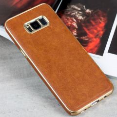 Olixar Makamae Lederlook Samsung Galaxy S8 Case - Bruin