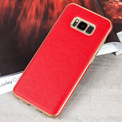 Olixar Makamae Leder-Style  Galaxy S8 Hülle - Rot