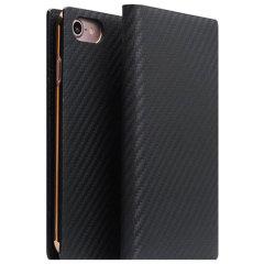 SLG D+ iPhone 7 Italian Carbon Leather Wallet Case - Black