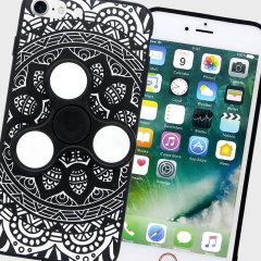 Olixar iPhone 8 / 7 Fidget Spinner Pattern Case - Black / White