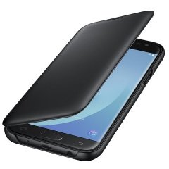 Protect your Samsung Galaxy J5 2017's back, sides and screen from harm while keeping your most vital cards close to hand with the official flip wallet cover in black from Samsung.