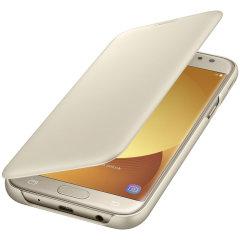 Original Samsung Galaxy J5 2017 Tasche Flip Wallet Cover in Gold