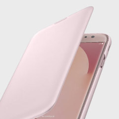 Protect your Samsung Galaxy J7 2017's back, sides and screen from harm while keeping your most vital card close to hand with the official flip wallet cover in pink from Samsung.