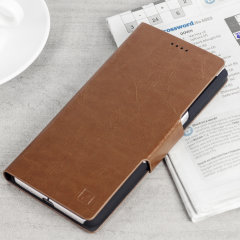 Protect your BlackBerry KeyONE with this durable and stylish brown leather-style wallet case by Olixar. What's more, this case transforms into a handy stand to view media.