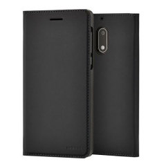 Official Nokia 6 Slim Flip Wallet Case - Black