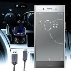 Mantenga su dispositivo Sony Xperia XZ Premium totalmente cargado mientras conduce con este cargador de coche con cable en espiral extensible. Además tiene un puerto adicional USB para poder cargar otro aparato.