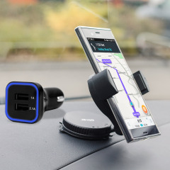 Essential items you need for your smartphone during a car journey all within the Olixar DriveTime In-Car Pack. Featuring a robust one-handed phone car mount and car charger with an additional USB port for your Sony Xperia XZ Premium.