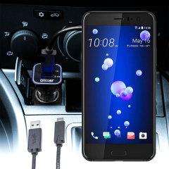 Mantenga su dispositivo HTC U11 totalmente cargado mientras conduce con este cargador de coche con cable en espiral extensible. Además tiene un puerto adicional USB para poder cargar otro aparato.